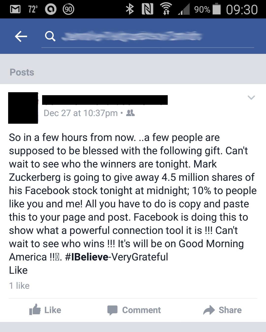 Facebook newsfeed hoax