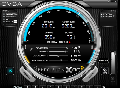 EVGA Precision X overclocking utility