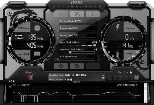 MSI Afterburning overclocking utility