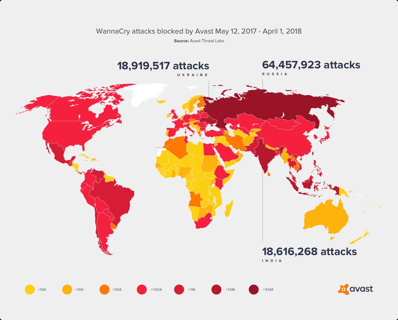 WannaCry Map May 12 2017 - April 1 2018