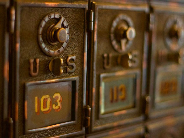 Old PO boxes rusted from age