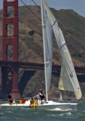 A Sailboat on San Francisco Bay in front of the Golden Gate Bridge