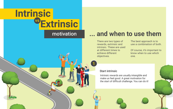 Intrinsic and extrinsic rewards infographic