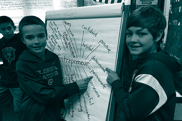 Two students pointing at brainstorm