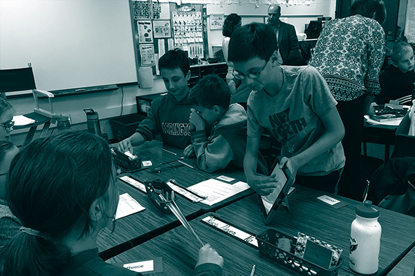 Elementary students at desks