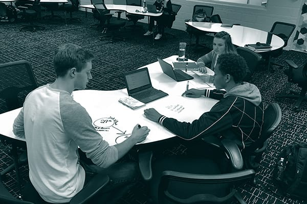 Three student working on a project