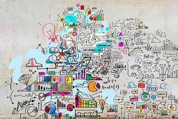 Business plan image with collage hand drawings