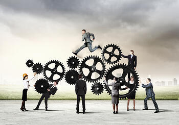 Conceptual image of businessteam working cohesively. Interaction and unity-3