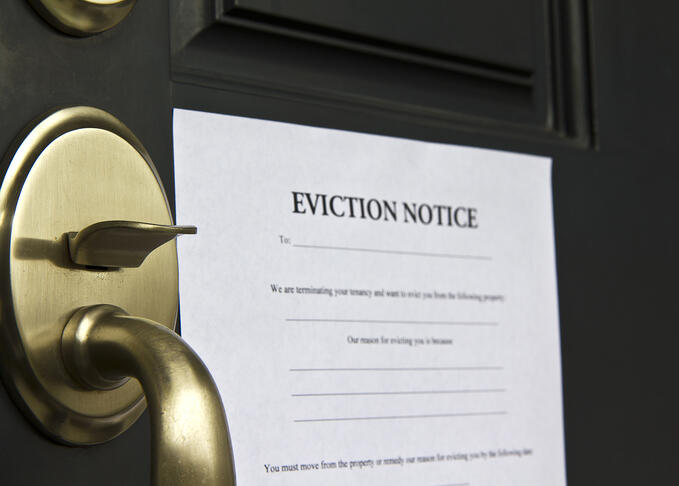 Eviction notice attached to a door
