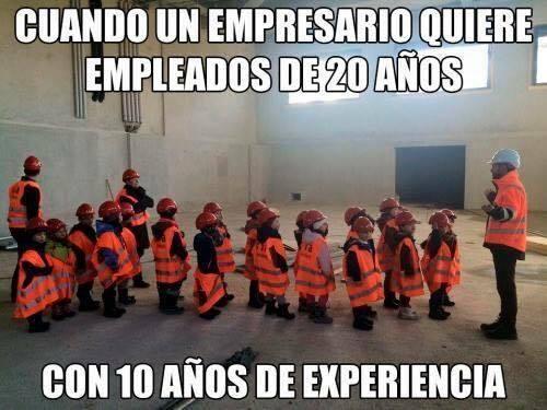 Meme: ¿Cuántos años de experiencia laboral tienes?