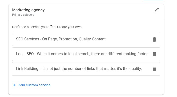 Products section on Google My Business Listing where to add custom service