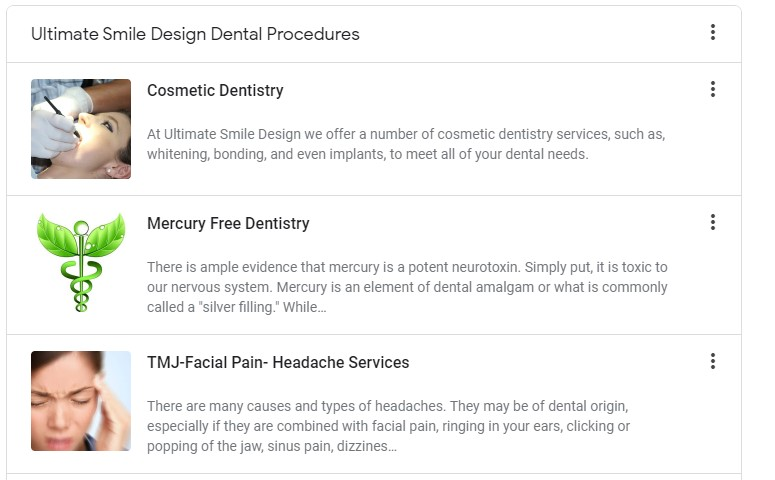 view on back side of Google My Business Listing under products tab