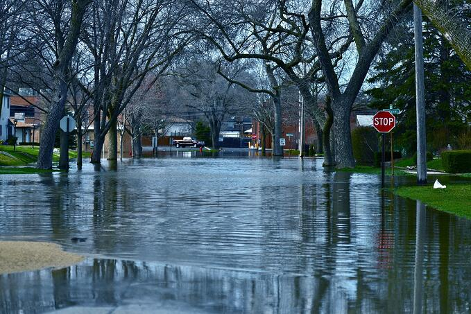 Residential street flooding due to weather