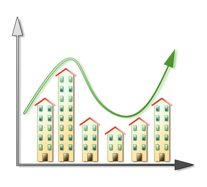 Fluctuation of the housing market - real estate market concept