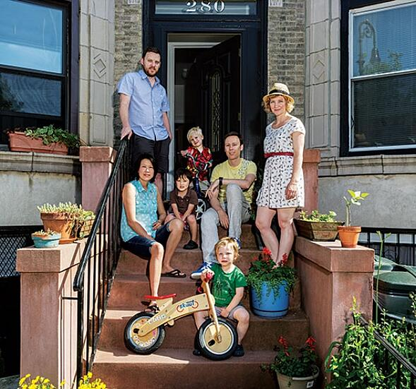 Two families (Sarah and Oliver Gray, Iris Ng and Mike Beck share a house in Brooklyn together with their sons;  photo courtesy Nick Ruechel and New York Magazine