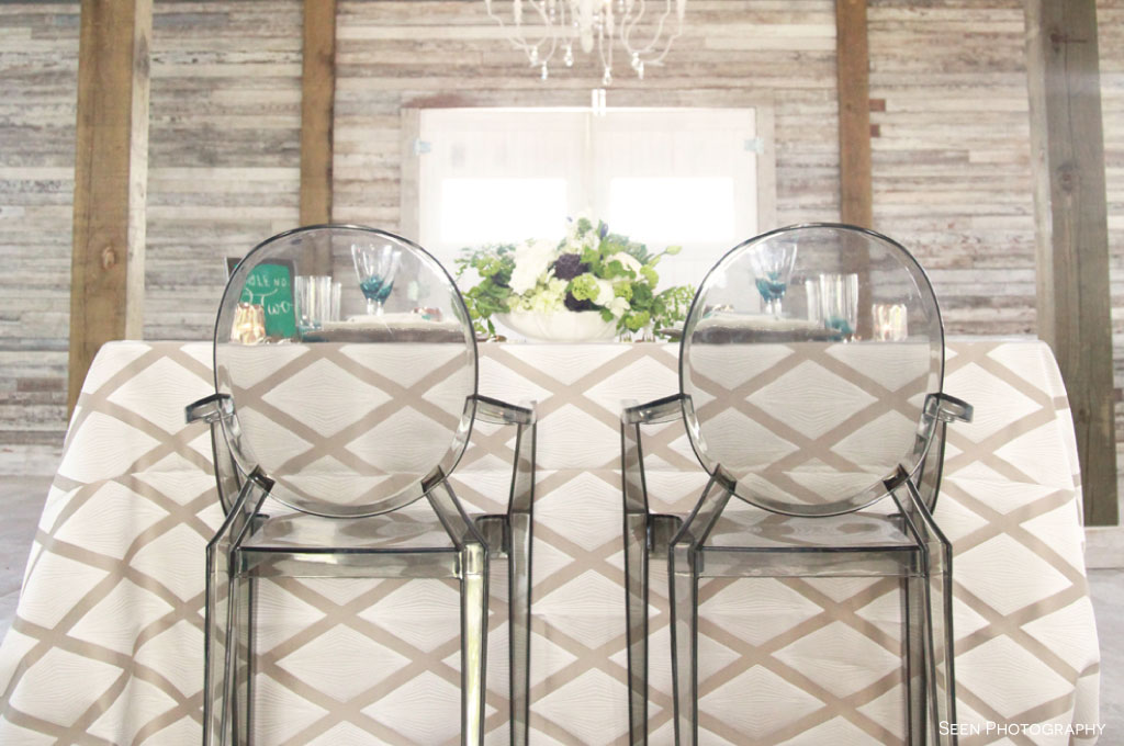 Nature inspired centerpieces, glassware and charm