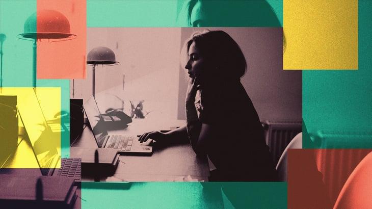 Browsing behind laptop