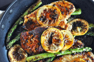 One-Pan Honey Lemon Chicken and Asparagus
