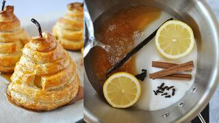 Honey-Poached Pears in Puff Pastry