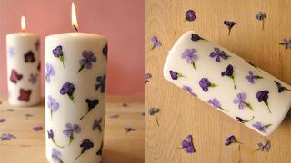Pressed Flower Candle DIY