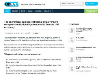 Top apprentices and apprenticeship employers are recognised