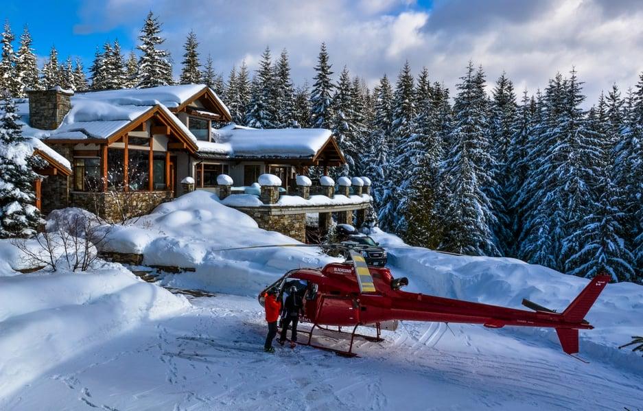 Heli chalet snow shot