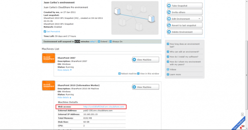 Accessing SharePoint sites with CloudShare Web Access