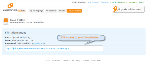 Cloud Folders - FTP information
