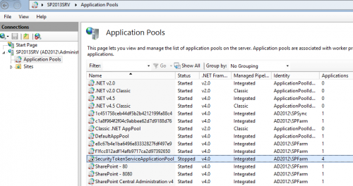 02 - SecurityTokenServiceApplicationPool Application pool is stopped