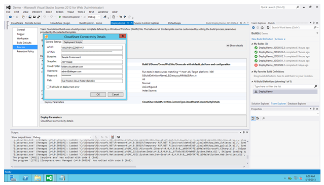 CloudShare TFS Dialog Box 1