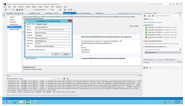 CloudShare TFS Dialog Box 1