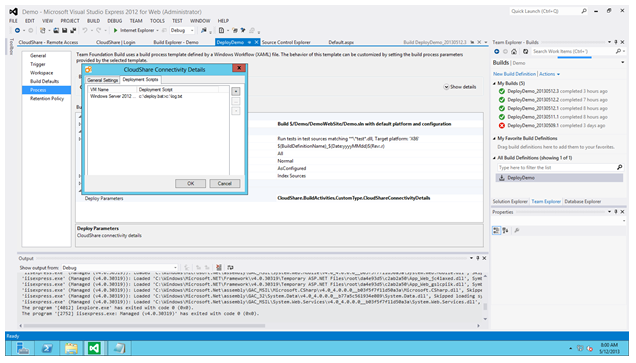 CloudShare TFS Dialog Box 2