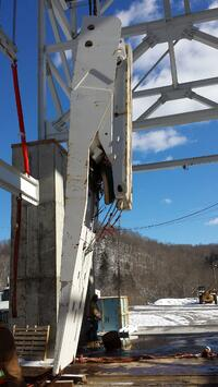 Mining Shield Lifted by Equipment Hoist