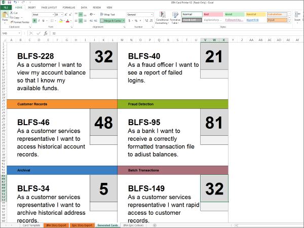 jira and trello user story printing template