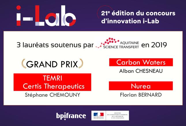 Concours i-LAB 2019 : 3 lauréats néo-aquitains dont un Grand Prix, soutenus par la SATT Aquitaine Science Transfert