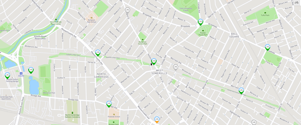 Station map   Bluebikes_Somerville