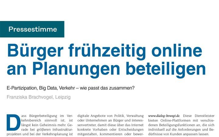 Bürger frühzeitig online an Planungen beteiligen