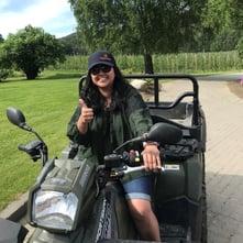 Vidhi riding an ATV