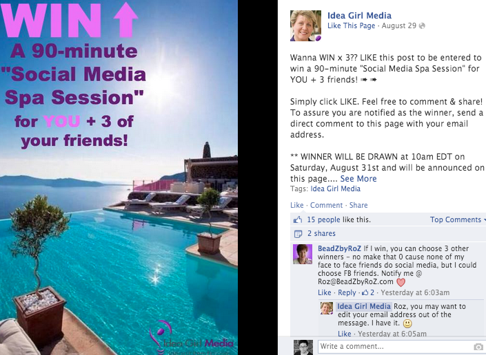 8 Facebook Contest Ideas You Can Run on Your Timeline TODAY – Sample Facebook Timeline