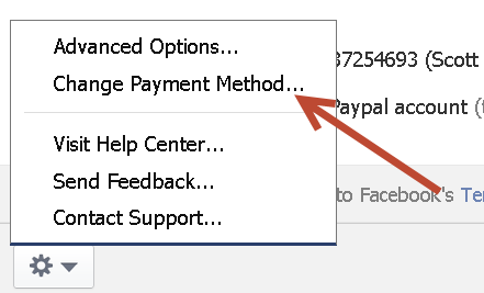 how to change payment method on facebook