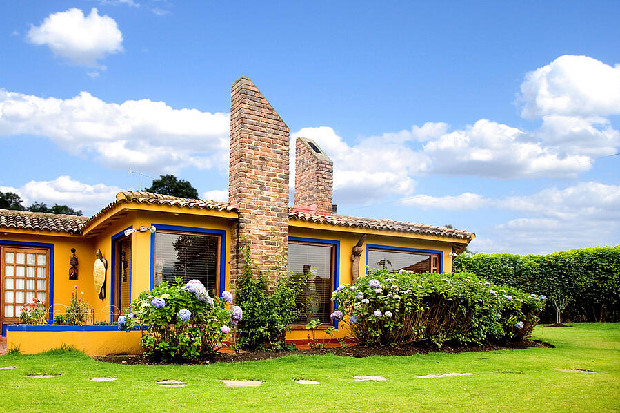 Beautiful house in the colombian countryside on a sunny day