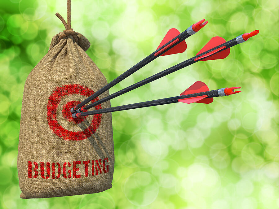 Budgeting - Three Arrows Hit in Red Target on a Hanging Sack on Green Bokeh Background.