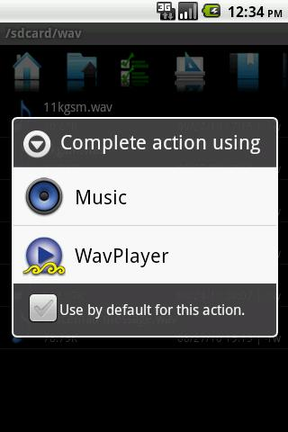 Android screen shot complete action using wav player