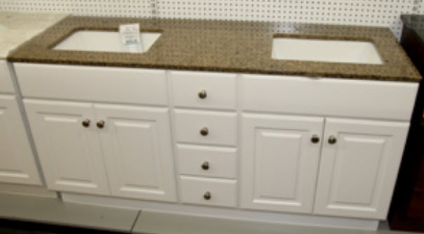 Delicate Antique Double Sink Bathroom Vanities And Cabinets With