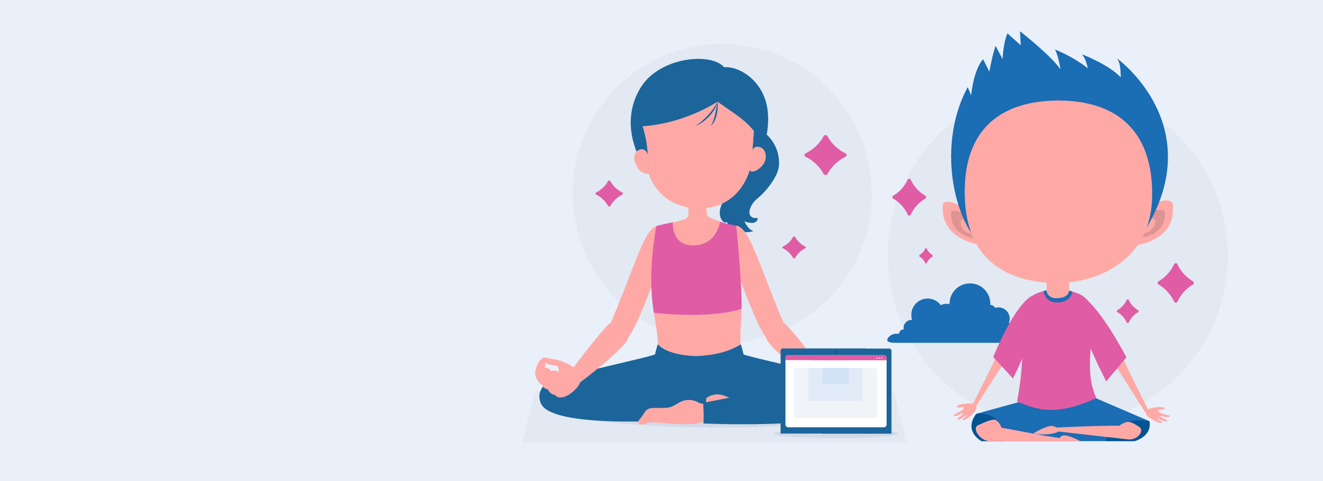 Two children sitting in meditation poses, doing meditation for kids learning how to be present