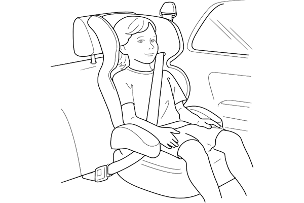 Drawing_child in car seat_white background