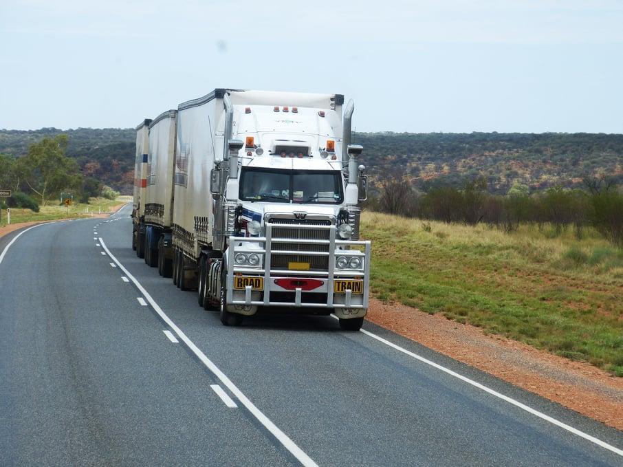 semi trailer, truck, open road