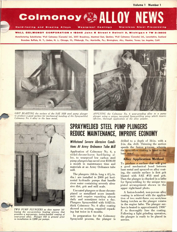 Colmonoy Alloy News - First Issue - 1956