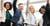Gelukkige collega's met armen in de lucht