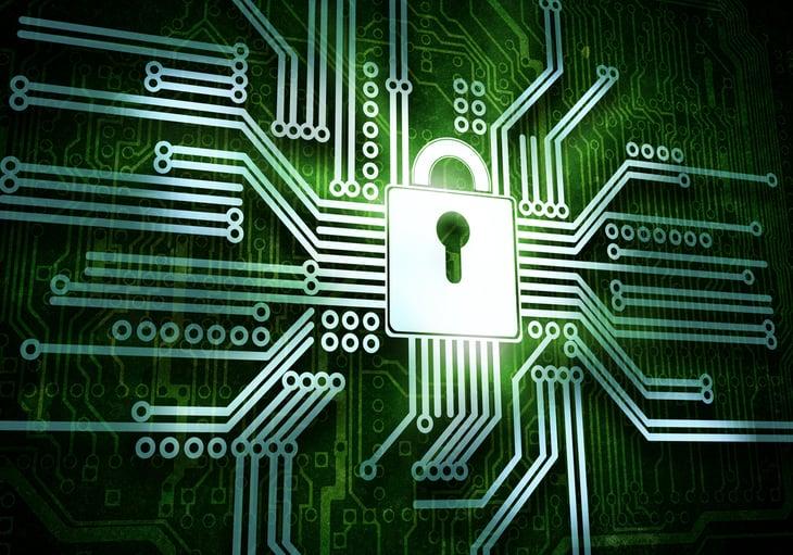 Conceptual image of micro circuit. Security concept-2